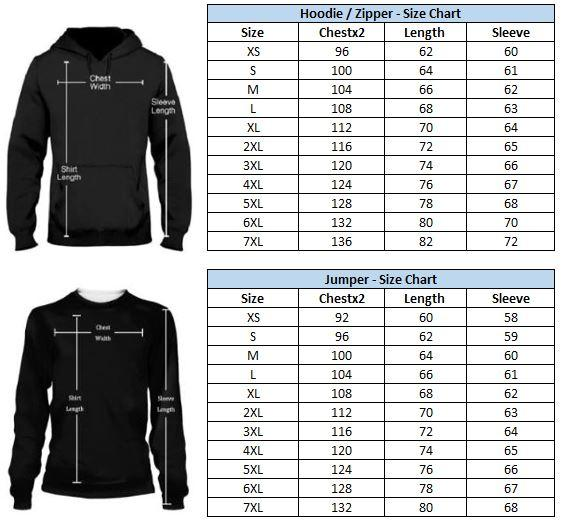 Size Guide Fish Chart Hoodie & Sweatshirt Guts Fishing Apparel