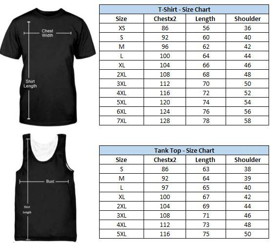 Fish on t-shirt and tank top size chart.