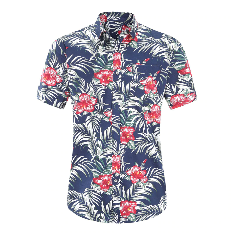A photo of a men's Hawaiian shirt on a white background. The shirt is blue and has a red hibiscus flower and green leaves print design.