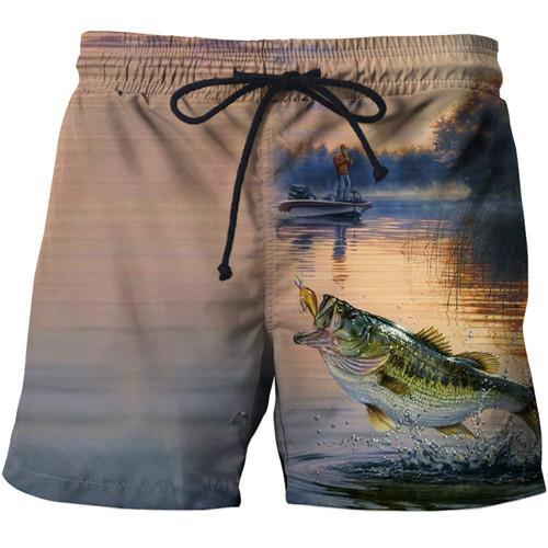 Painting of a man catching fish on a boat in a lake printed onto a pair of shorts.