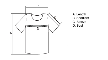 Measurement guide for kids tropical fish t-shirt.