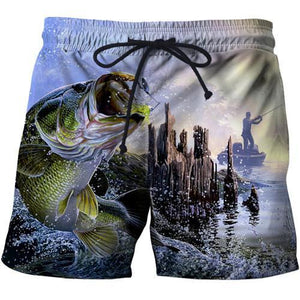 Man catching fish in a lake printed on shorts.