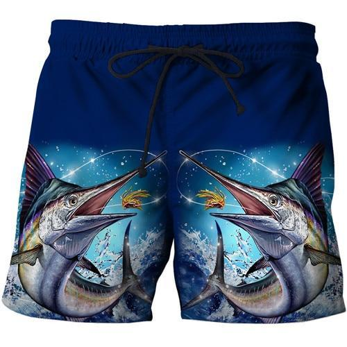 Blue fishing shorts with Marlin fish artwork.