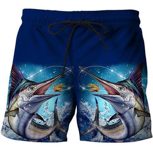 Marlin fish printed on shorts. Blue.