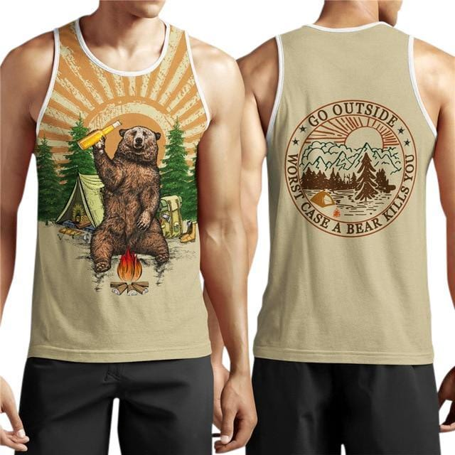 Go Outside Camping Bear Singlet