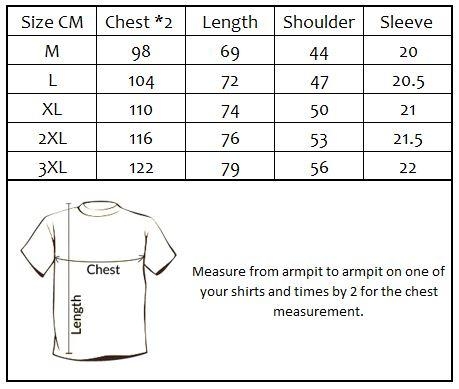 Plan for today t-shirt size chart.