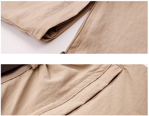 Khaki fishing pants that zip off at the knee.
