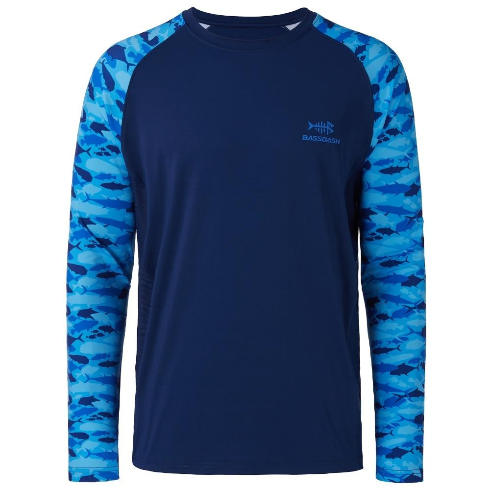 Blue and navy fishing shirt with long sleeves