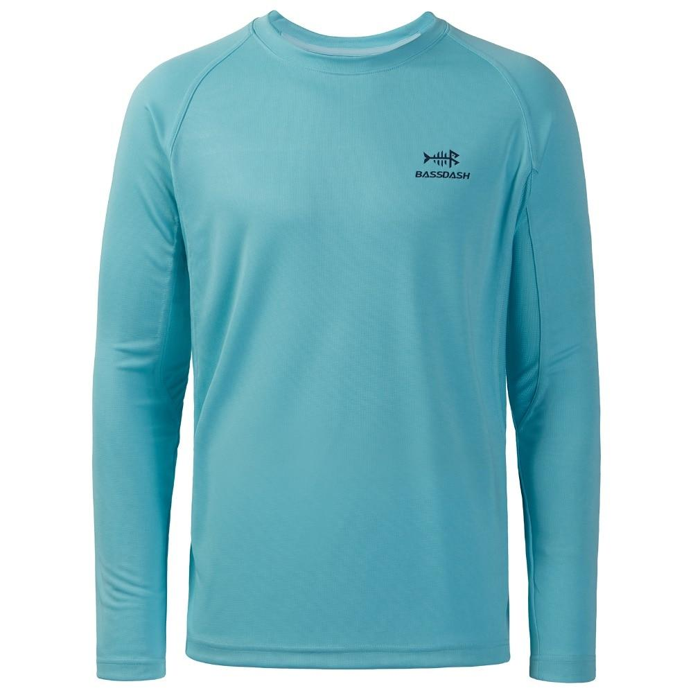 Turquoise round neck  fishing shirt with long sleeve. Bassdash logo on front chect.