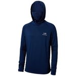 Navy blue long sleeve fishing shirt with built in face cover and hood for sun protection.