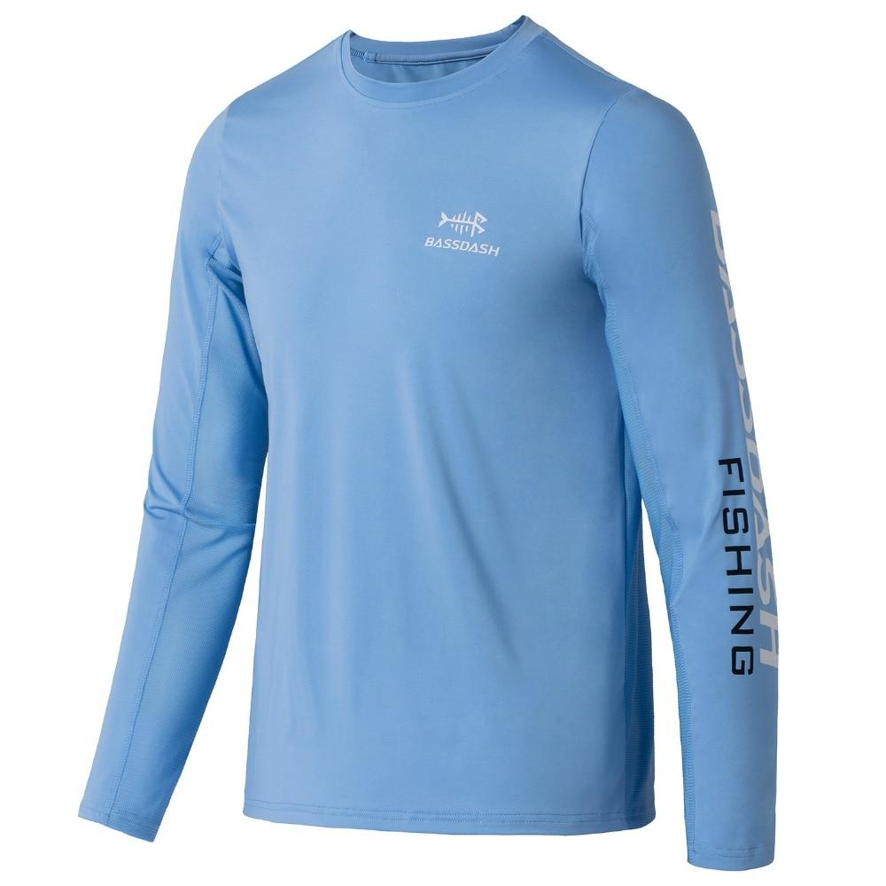 Children's fishing shirt, round neck, light blue, UPF 50 sun protection. Bassdash brand.