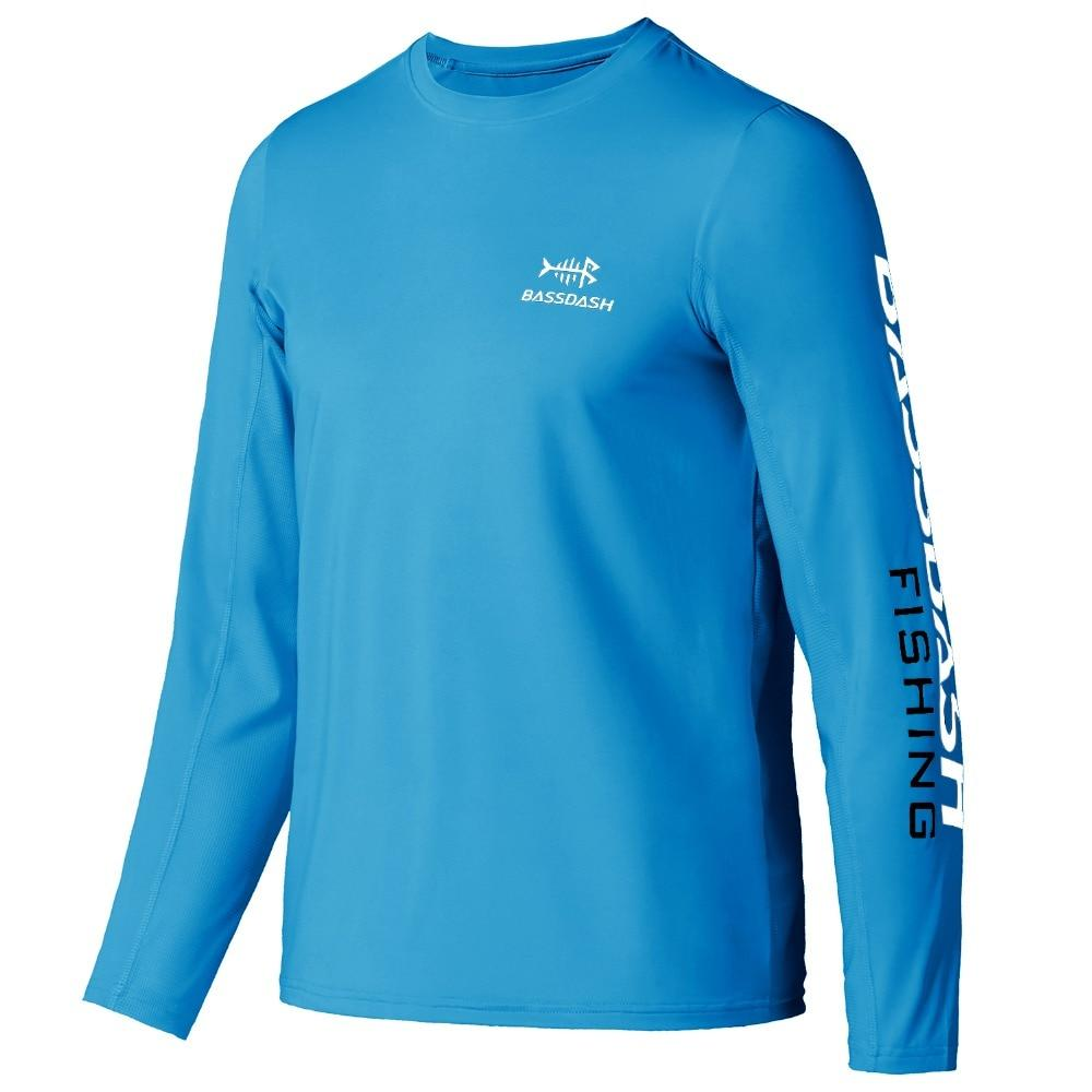 Children's fishing shirt, round neck, blue, UPF 50 sun protection.