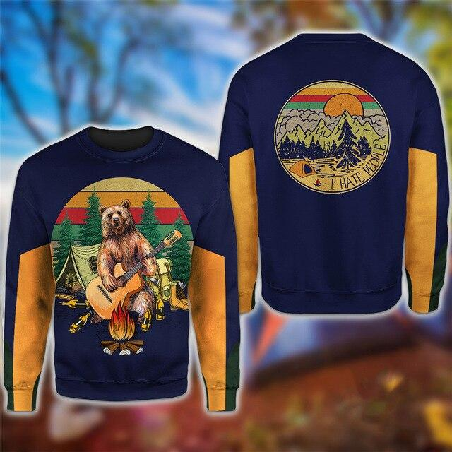 Bear Playing Guitar Hoodie & T-Shirt Sweatshirt / S Guts Fishing Apparel