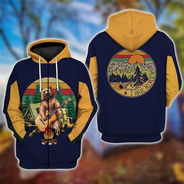 Bear Playing Guitar Hoodie & T-Shirt Zipper / S Guts Fishing Apparel