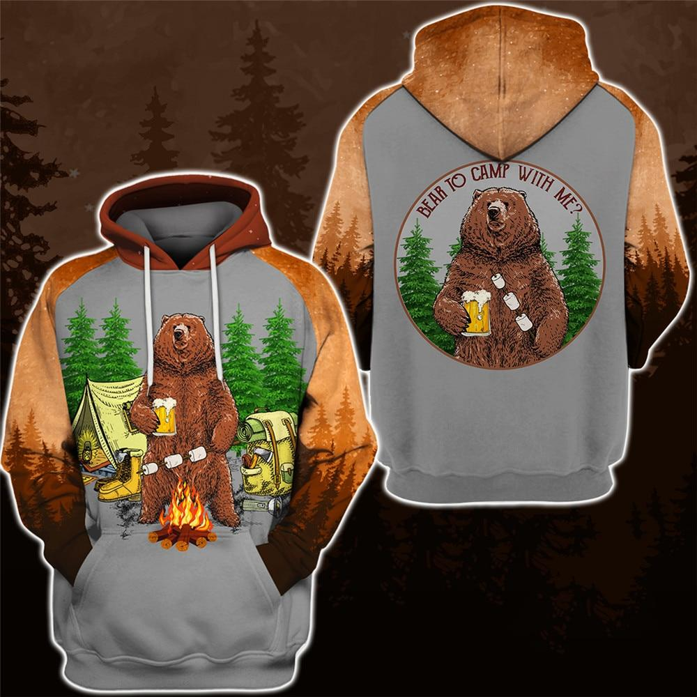 Bear To Camp With Me Hoodie & T-Shirt Hoodie / 5XL Guts Fishing Apparel