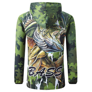 Gree fishing shirt with photo of a big green bass fish and the word bass written on the back.