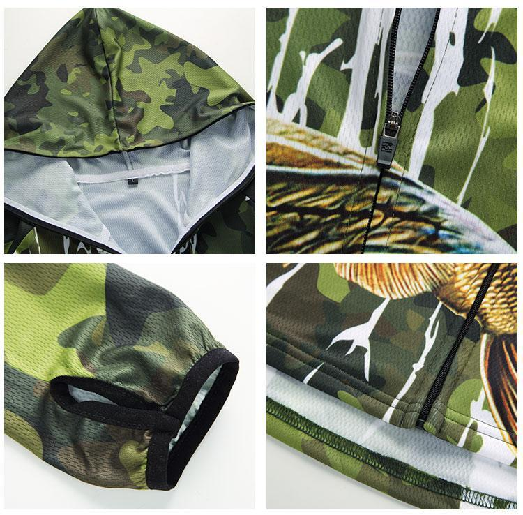 Green camouflage zip up fishing shirt with hood and bass fishing design. The shirt also has thumb holes, a zip and is made from moisture wicking material.