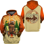 Men's camping hoodie with a bear drinking a beer around a fire and campsite. There is text on the back that says I Hate People. Sun setting and forest design in background. Red sleeves and khaki body.
