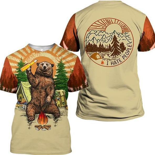 This funny camping t-shirt is sure to get a laugh. It features a brown bear holding a beer while camping in the forest. On the back the t-shirt say I Hate People.