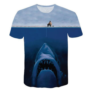 Kids fishing shirt with big shark on it.