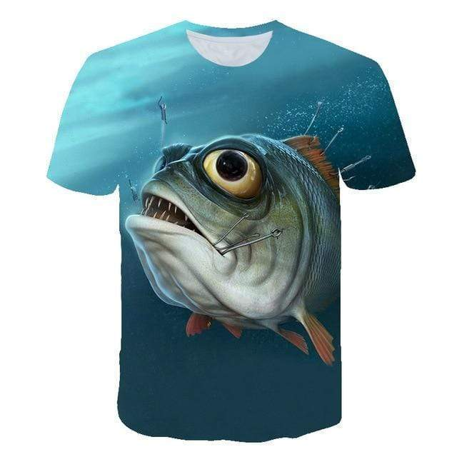 Kids fishing shirt with a photo of a big fish with a hook in its mouth on it.