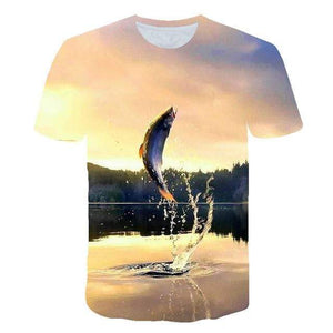 Kids t-shirt with fish jumping out of the water printed onto it.