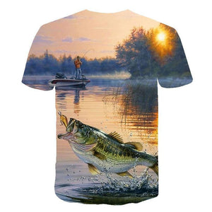 Children's fishing shirt. 3D graphic print. Man fishing on a boat.