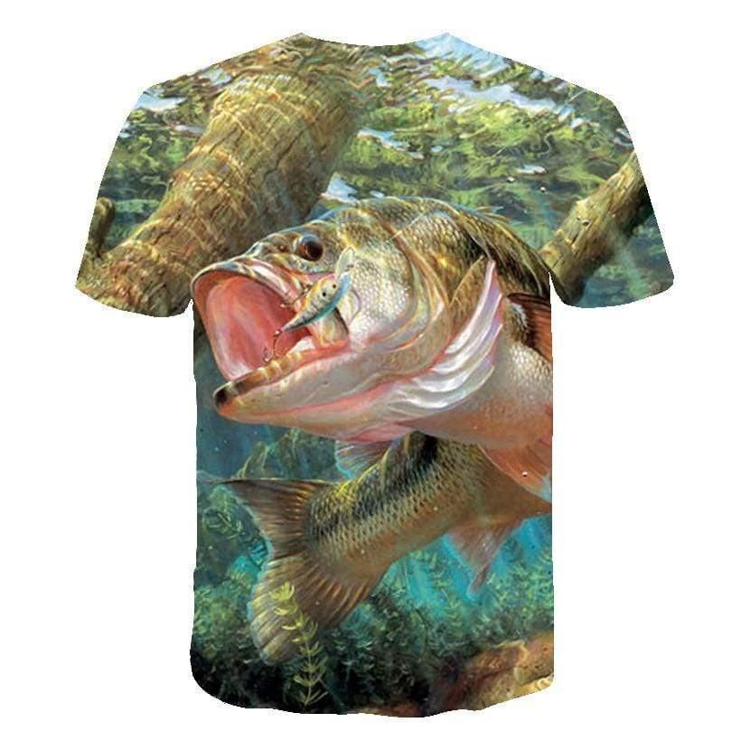 Kids fishing shirts with amazing artwork. This one shows a big fish underwater biting a lure.