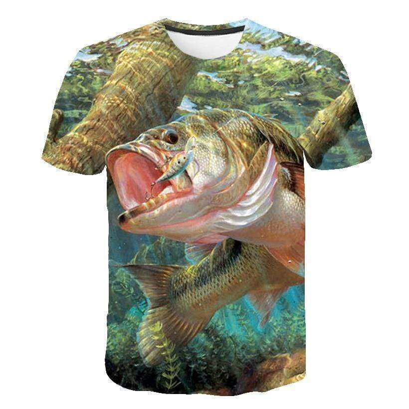 Children's size 3D graphic fishing shirt. Image of big fish chasing a lure underwater.