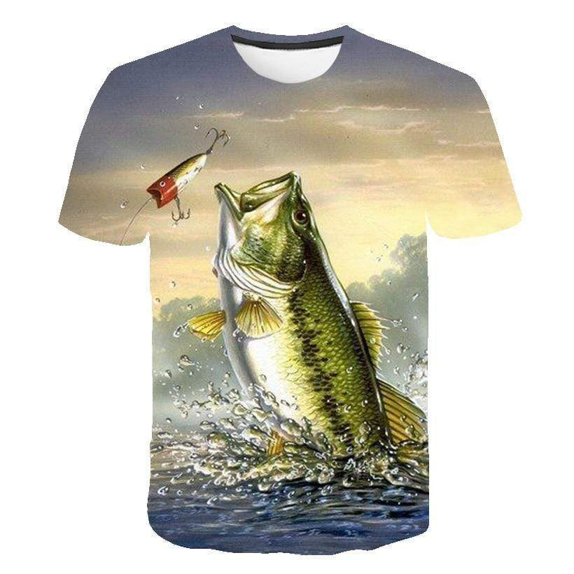 Kids large-mouth bass fishing shirts. Big green bass fish jumping out of the water chasing a lure.