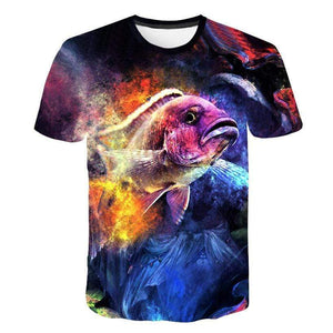 Kids size fishing shirt with amazing 3D and colourful graphic art.