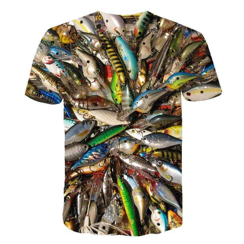 Children's size lure print fishing shirt.