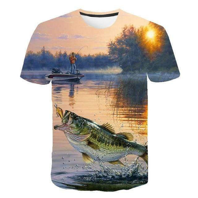 Kids 3D graphic fishing shirt. Man standing on boat with sun setting fishing for Bass fish.