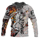 Bass fishing sweatshirt with hood. Camouflage and 3D fish print design. White and brown with bass fish chasing a popper lure.