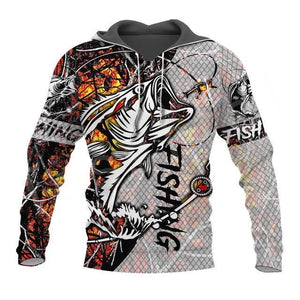 3D graphic print fishing hoodie. Camouflage print with bass fish chasing a lure. The word fishing is written on the sleeves and body of shirt.