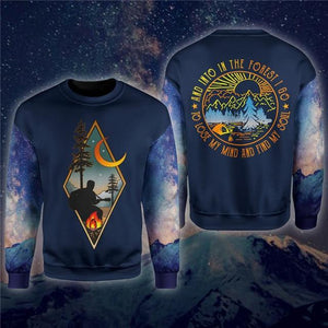 Camping sweatshirt with man playing guitar around the fire and under the moon on the front. Text saying And into the forest I go to lose my mind and find my soul printed on the back.