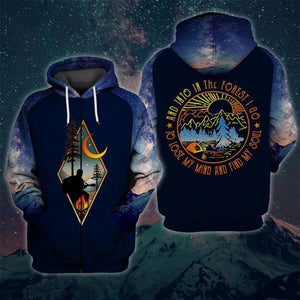 Blue camping zip up hoodie. Men's US size. And into the forest I go to lose my mind and find my soul written on the back.