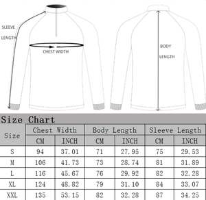 Size Chart Fish Bum Guts Fishing Apparel