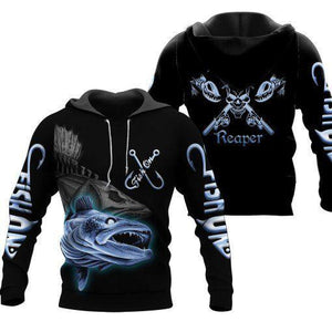 Black fishing hoodie with fish reaper, fishing rod and skull design on back. This men's hoodie also has fish on written on the sleeves and chest. with an angry fish print design on front.