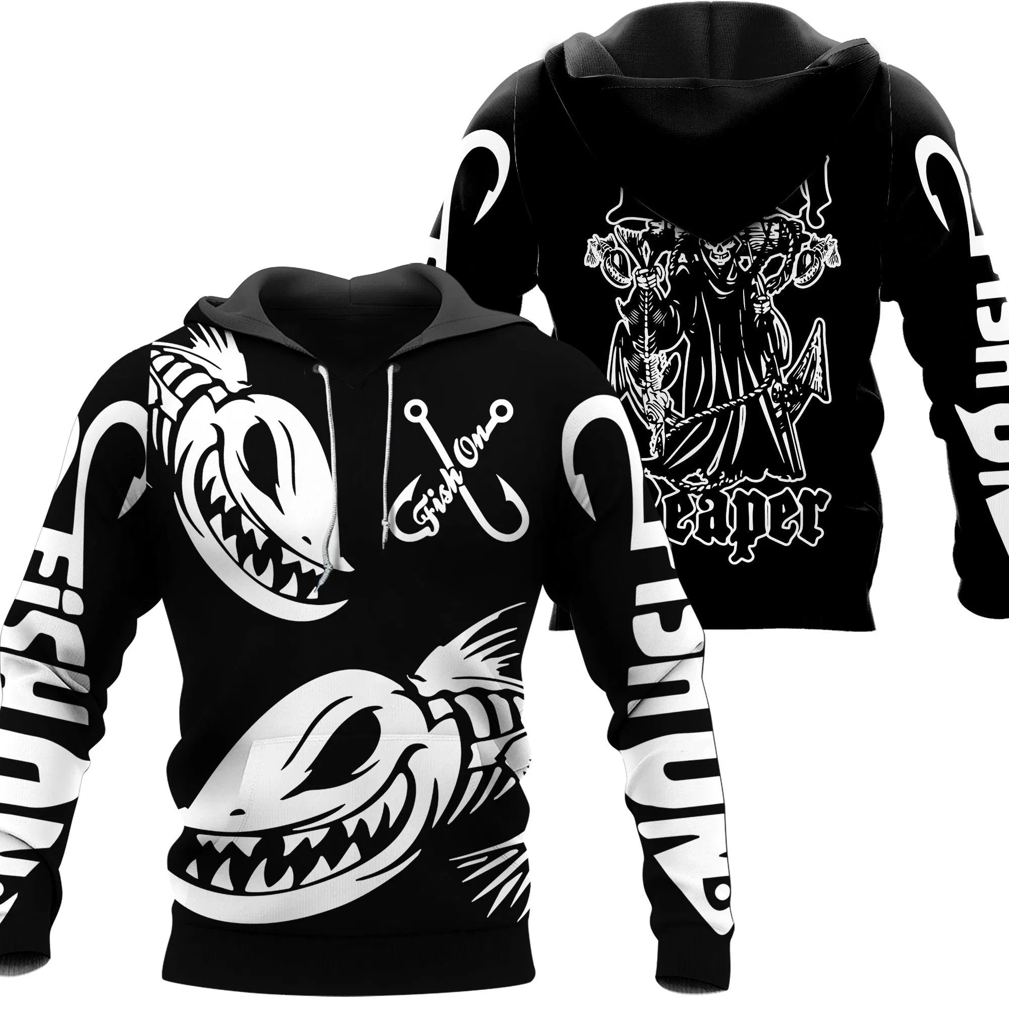 Fish Reaper hoodie. Black with white text. Two big angry fish on front.