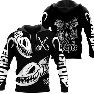 Black fishing hoodie with the grim reaper holding a fish on the back. Fish On logon on chest and sleeve. Black hoodie with white text. Two big angry fish on front.