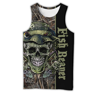 Fish Reaper fishing tank top with skull and fish design.