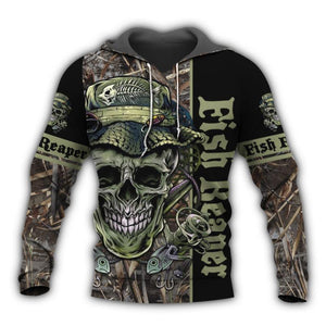 Fish Reaper fishing hoodie with skull and fish design.