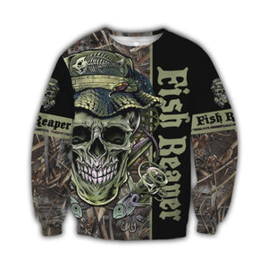 Fish Reaper fishing sweatshirt with skull and fish design. Black, green and camouflage.