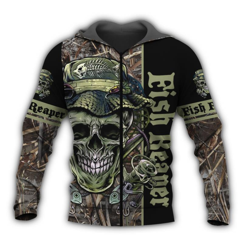 Fish Reaper fishing hoodie with zip and skull and fish design.