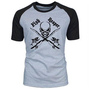 Men's raglan t-shirt with skull, crossed fishing rods and fish print. The words Fish Reaper also appear on the front.