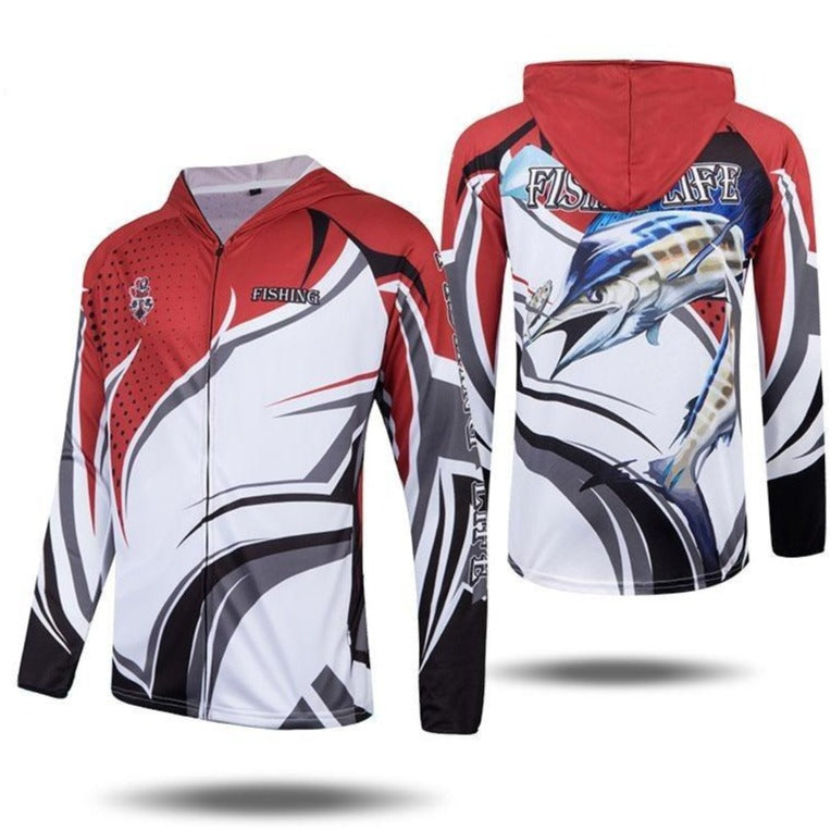 Zip up fishing shirt with hood. Marlin fish printed on back. Red white and blue colour design.