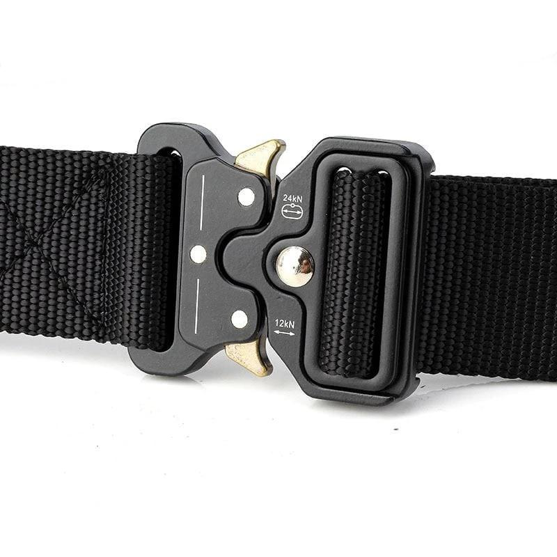 Black tactical nylon belt with quick release buckle.