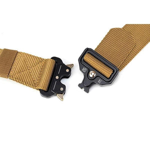 Khaki tactical nylon belt with quick release buckle.