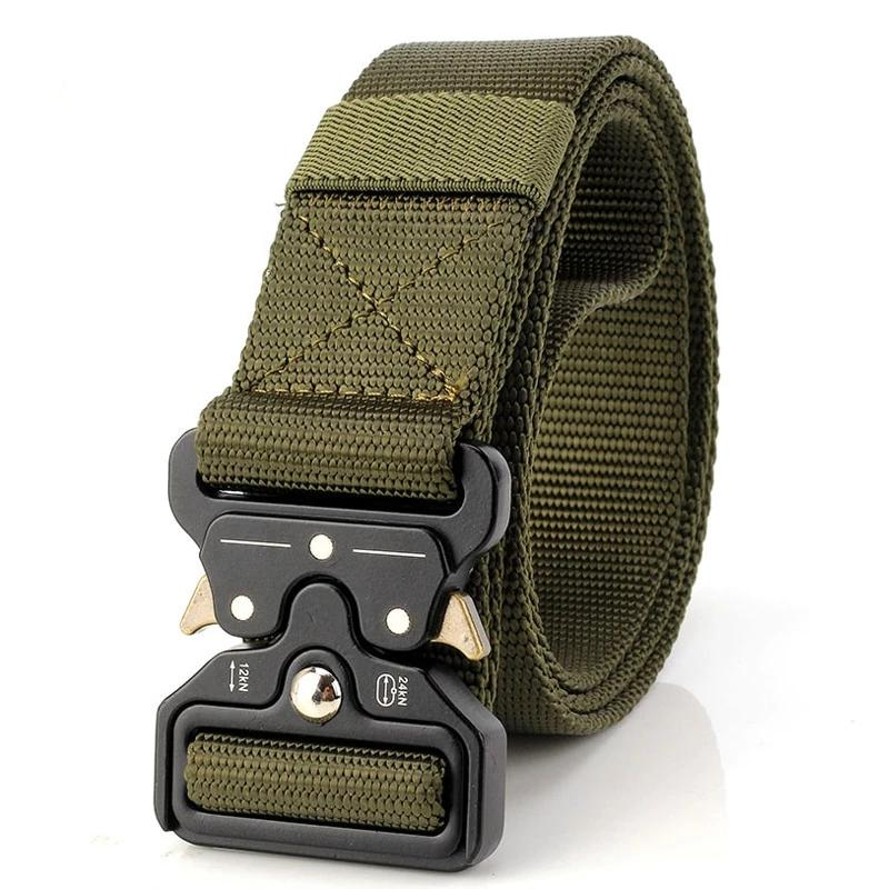 Army green tactical nylon belt with quick release buckle.